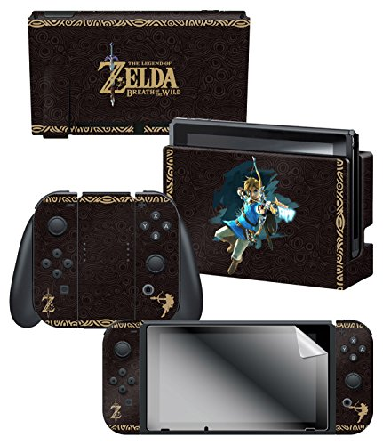"Controller Gear Nintendo Switch Skin & Screen Protector Set, Officially Licensed By Nintendo - The Legend of Zelda Breath of the Wild ""Link Tribal"" - Nintendo Switch"