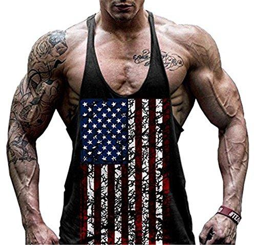 Faith Wings Hombre Fitness Gym muscular absorbente Chaleco Bodybuilding Bandera de Estados Unidos Stringer Tank Top sólida Sport Vest (L, Negro)