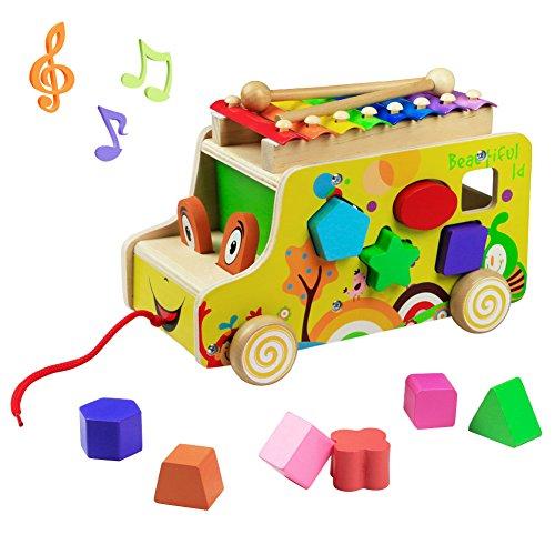 yoptote Silofono Niños Xilófono Música de Madera Juguetes Musicales Remolque de Madera Multifuncional para Niños Mayores de 3 Años