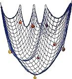 Milopon Red de pesca decorativa de pesca marítima con conchas para colgar, decoración de pared para el hogar, fiesta (azul)