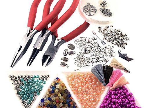 Vintageparts Perlen Armband Set zum DIY Schmuck, 1000 Teile mit Zangen