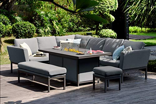 Fenetti - Outdoor Fabric Pulse Rectangular Dining Set with Corner Sofa - with Fire Table - Flannel