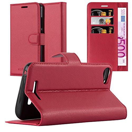 Cadorabo Hülle für Wiko Jerry - Hülle in Karmin ROT – Handyhülle mit Kartenfach & Standfunktion - Hülle Cover Schutzhülle Etui Tasche Book Klapp Style