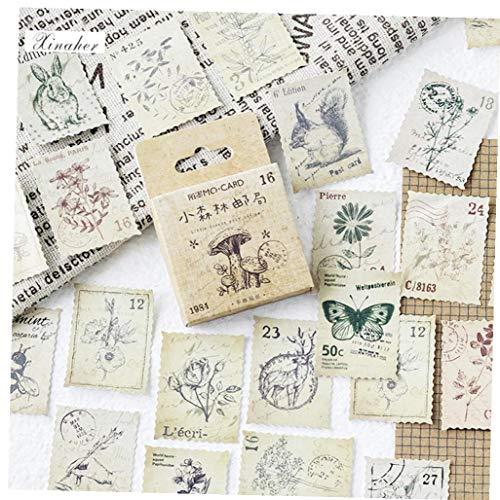 46 Pc/Kasten Wald Stempel-aufkleber Vintage Post Briefmarken Dekorative Aufkleber Mithelfer Diy Scrapbooking Abziehbilder
