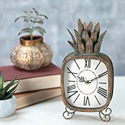 Foreside Copper Patina Rustic Pineapple Metal Battery Operated Table Clock