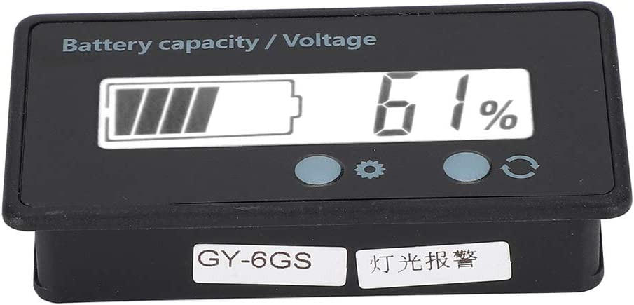 Battery Capacity Indicator, Battery Digital Display Voltage Meter Double Button Design Voltmeter for Lithium Battery(White, Pisa Leaning Tower Type)
