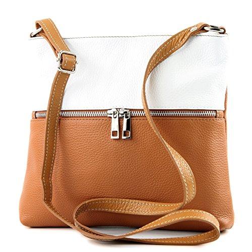 modamoda de -. borsa in pelle ital signore borsa a tracolla di crossover Cartella in pelle T144, Colore:Camel/Bianco
