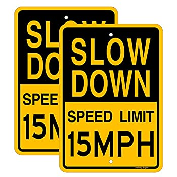 Joffreg Slow Down Speed Limit 15 MPH Sign,17 x12 Inches,Reflective Aluminum  2 Pack