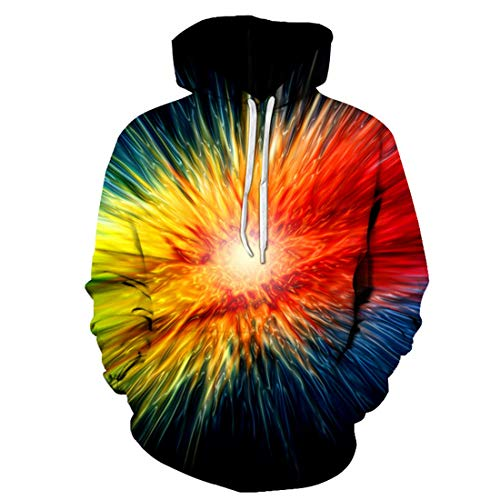 Men's Hoodies Men 3D Printed Hoodie Autumn Winter Pullover Unisex Rainbow Colored Contrast Optic Artwork Design Hip hop Hooded Sweatshirt with Kangaroo Pockets 3XL
