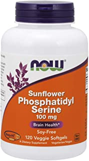 Now Supplements, Sunflower Phosphatidyl Serine 100 mg, Derived from Non-GMO Sunflower Lecithin, 120 Veggie Softgels