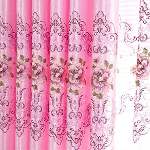ZAAQ Blumen Bestickt Voile Gardinen Rosa Tüll auf Fenster für Wohnzimmer Schlafzimmer Küche Wohnkultur-Panel,Cloth,2.5m Wide