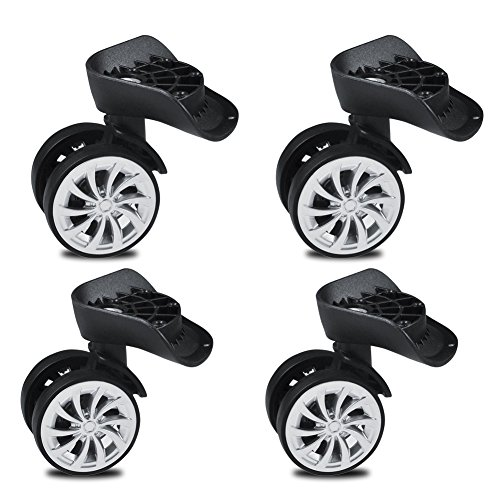 Swivel Castors Wheels, Heavy Duty 55mm Rubber Swivel Castor Wheels Trolley Furniture Caster, Swivel Wheel Replacement Luggage Travel Suitcase Wheels (4 PACK)
