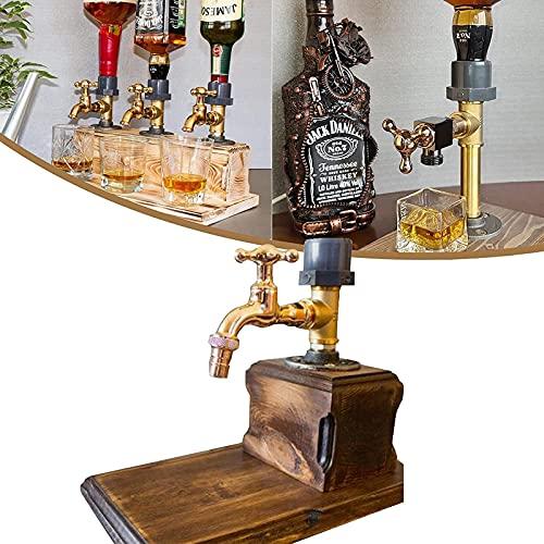 DHHZRKJ Dispensador de Licor de Whisky de Madera, Regalo del día del Padre Dispensador de Bebidas Creativas con Grifo, Estante de exhibición de Whisky, decoración de Bar de Restaurante,Double