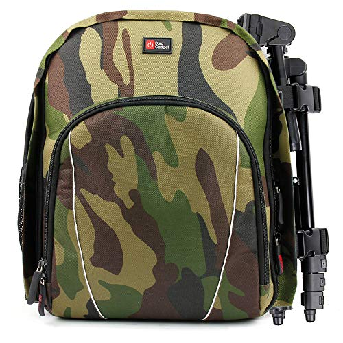 DURAGADGET Camouflage Water-Resistant Rucksack with Customizable Interior & Raincover - Compatible with Bushnell Powerview 10x25 Binoculars