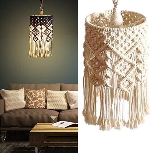 Seasaleshop lampenkap plafondlamp beslag, Boheemse macramé lantaarn lamp voor woonkamer, slaapkamer en badkamer, lamp niet inbegrepen (breien)