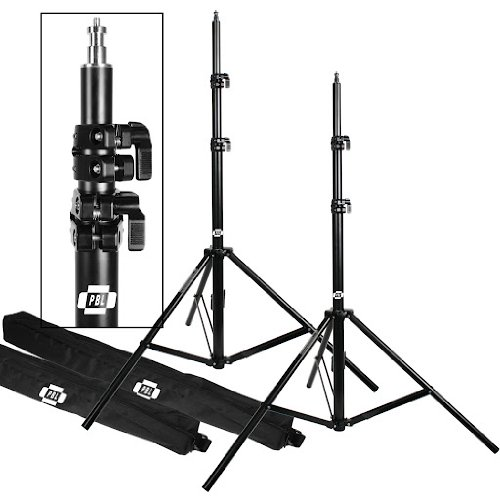 Light Stands PRO Heavy Duty 7'6' Set of Two, with All Metal Locking Collars NOT Plastic by PBL