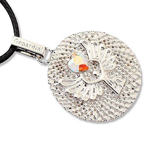 Gepardini Schutzengel Amulett Halskette mit SWAROVSKI® Edition Kristalle (silber, gold, roségold) Handarbeit mit Zertifikat (Silber-Rhodiniert)