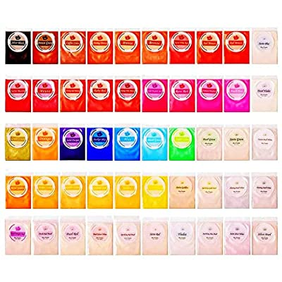 SEISSO 50 Bags Epoxy Resin Dye, 250g Mica Powder for Epoxy Set, Adhesive Pigments for Slime, Bath Bomb Dyes, Soap Making Colorant Cosmetic Pigment Powder, Candle Making Coloring, Art Craft