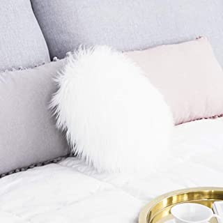 Carvepet Luxury Faux Sheepskin Fur Round Decorative Throw Pillow Seat Cushion for Sofa Bed Couch, White, 14 Inch