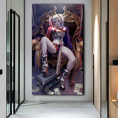 Pintura Impresa Juego de decoración de la habitación Carteles de Quinn Pinturas de Pared Impresas en Lienzo imágenes artísticas para Sala de Estar 60x120cm-sin Marco