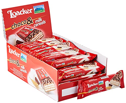 Loacker - Choco And Milk Cereals - Barrette al Cioccolato al Latte con Ripieno di Cialde Wafer, Crema al Latte e Crispies di Cereali - Merenda e Snack - 1 Confezione da 30 Barrette