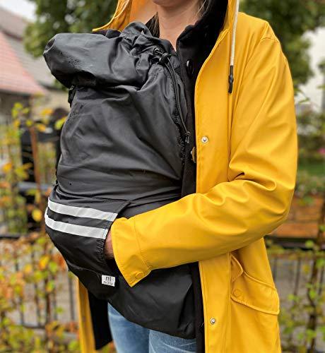 miRio BabyCover • Babytrage Regenschutz, wasserdichter Wintercover/Regencover mit Fleece Innenfutter für Babytragen • auch als Tragetuch Wetterschutz nutzbar (Schwarz)