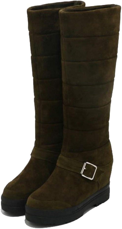 kvinnor Ladies Mid Calf skor Buckle Knee Work Casual hög klack Wedge stövlar svart grön