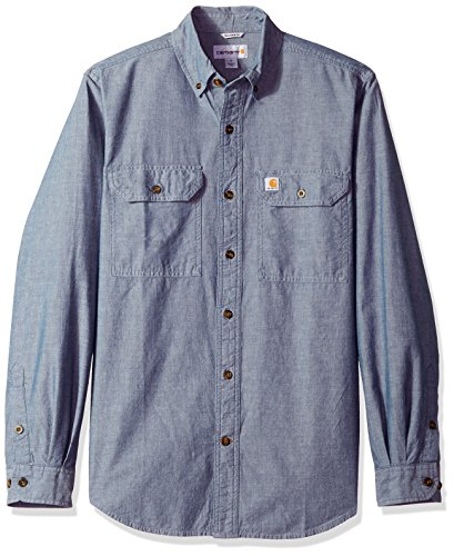 Carhartt Fort leichtes Chambray-Hemd S202, mit Knopfleiste, lockere Passform, langärmelig, X-Large, Denim Blue Chambray, 1