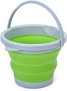 D L D Seau en silicone pliable de 10 L pour le nettoyage du camping, de la pêche, de la cuisine - Seau de 10 litres en bai...