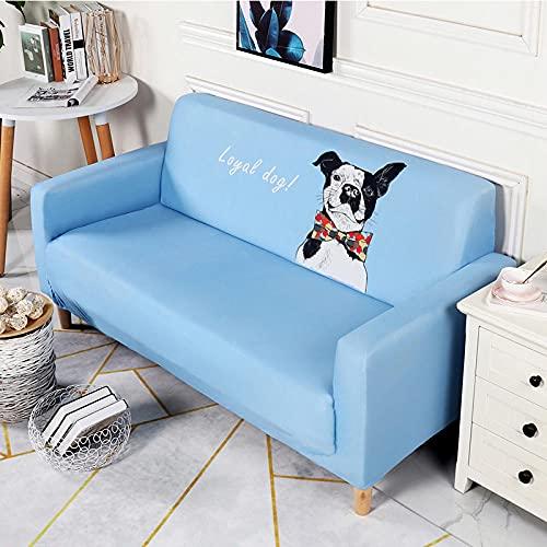 Funda Sofas 2 y 3 Plazas Perro Azul Fundas para Sofa con Diseño Universal,Cubre Sofa Ajustables,Fundas Sofa Elasticas,Funda de Sofa Chaise Longue,Protector Cubierta para Sofá
