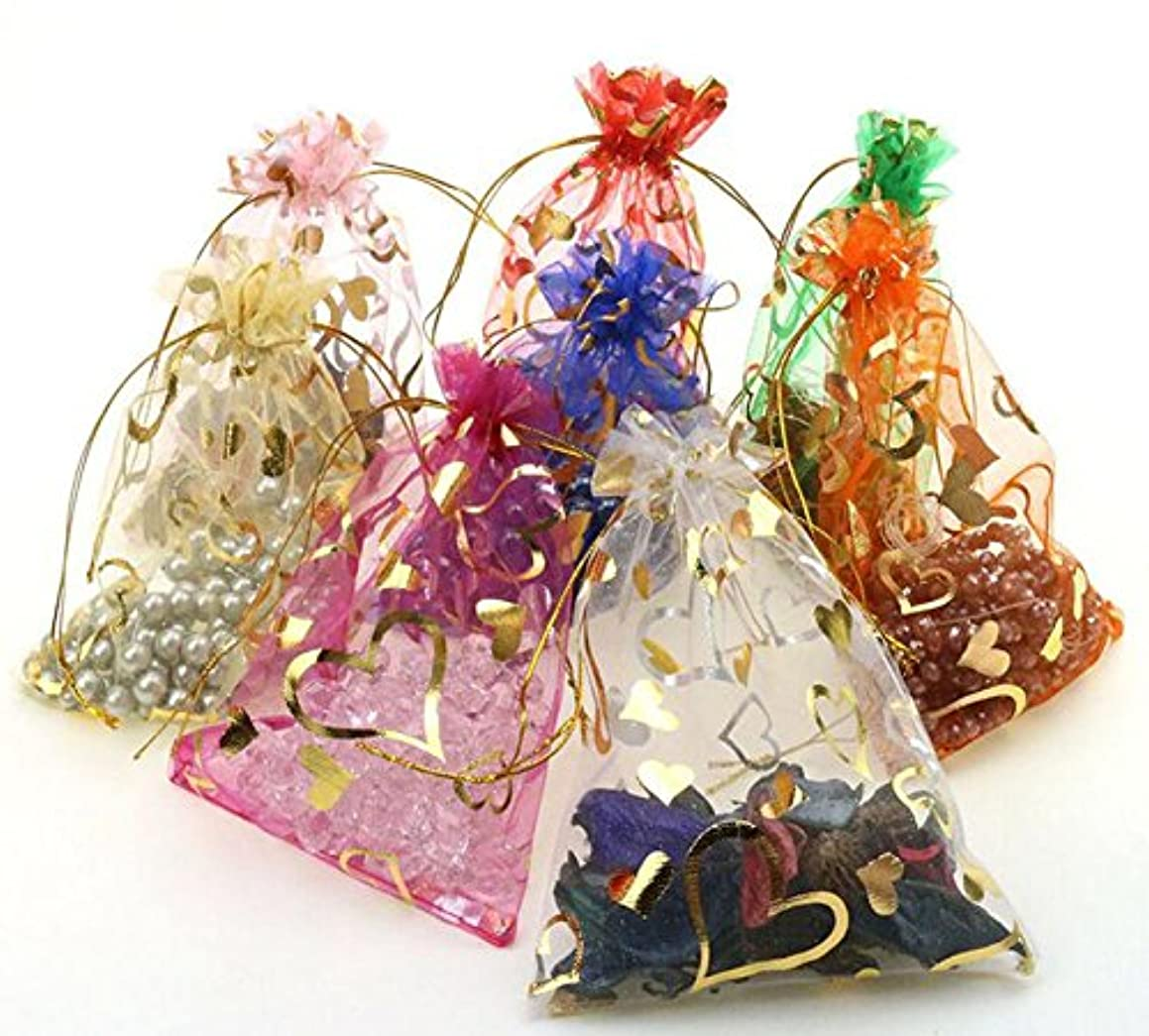 luzen 100 Pieces Heart Print Organza Bags Candy Bags Jewelry Bags Drawstring Pouches Wedding Favors Gift Bags(9x12 CM)