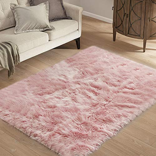 HYSEAS Faux Sheepskin Fur Area Rug Pink, 3x5 Feet Rectangle, Fluffy Soft Fuzzy Plush Shaggy Carpet Throw Rug for Indoor Floor, Sofa, Chair, Bedroom, Living Room, Home Decoration