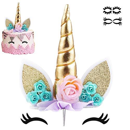 Unicorn Cake Topper with Eyelashes Party Cake Decoration
