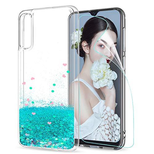 LeYi Compatible con Funda Samsung Galaxy A50 / A30S / A50S Silicona Purpurina Carcasa con HD Protectores de Pantalla Transparente Cristal Bumper Telefono Gel TPU Case Cover para Movil A50 ZX Verde