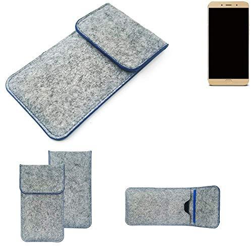 K-S-Trade Handy Schutz Hülle Für Allview X4 Soul Lite Schutzhülle Handyhülle Filztasche Pouch Tasche Hülle Sleeve Filzhülle Hellgrau, Blauer Rand