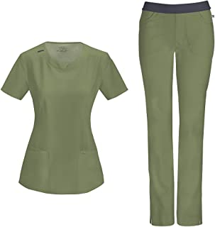 Infinity Women's Scrub Set - 2624A Round Neck Top & 1124A Low Rise Slim Pull-On Pant