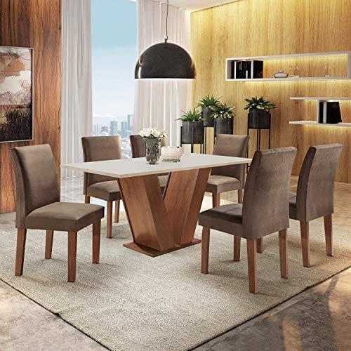 Conjunto Sala de Jantar Mesa Tampo MDF 6 Cadeiras Espanha Siena Móveis Chocolate
