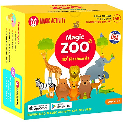 Magic Zoo – 4D Flash Cards for Kids: Animals Come Alive (See Them Walk, Talk, Run & Eat) with Augmented Reality - 26 Interactive Learning Flash Cards (AR App Included)