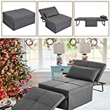 LANLINCO Sofa Bed, Convertible Chair 4 in 1 Multi-Function Folding Ottoman Sleeper for Small Spaces, Modern Breathable Linen Guest Bed with Adjustable Backrest, Dark Grey