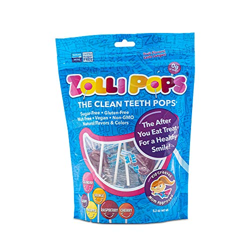 Zollipops Clean Teeth Lollipops | Anti-Cavity, Sugar Free Candy with Xylitol for a Healthy Smile - Great for Kids, Diabetics and Keto Diet (Assorted Flavors, 5.2 oz)