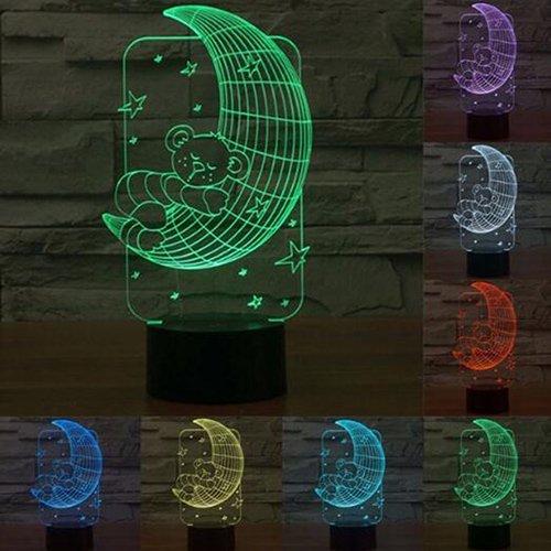 Valentine Jour Lune Lumière Lune 3D Night Light 7 Couleur LED Lampe De Chevet USB Romantique Atmosphère 3D Lampe Pour de mariage