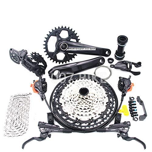 TSAUTOP Newest DEO-RE XT M8100 GROUPSET 32T 34T 36T 170 175 CIRANKSET MOINT Bike GROUPSET 1X12-SPEED CSMZ90 51T M8100 Dera-illeur Trasero para shi-ma-no (Color : 34T 170MM 10 51T)