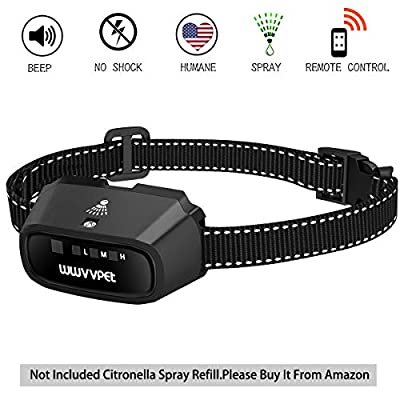 WWVVPET Spray Dog Bark Collar, (Not Include Citronella Spray) Citronella Dog Training Collar,Humane Safe No Shock Anti-Bark Collar Stop Barking,Rechargeable Waterproof Sensitivity Adjustable (Black)