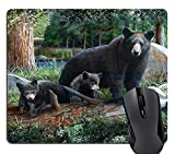 Knseva Wildlife Black Bear Cubs Thick Woods Forest Mouse Pad