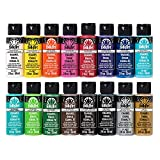 FolkArt Gloss Finish Acrylic Enamel Craft Set Designed for Beginners and Artists, Non-Toxic Formula Perfect for Glass and Ceramic Painting, Sixteen 2 oz Bottles, 32 Ounce