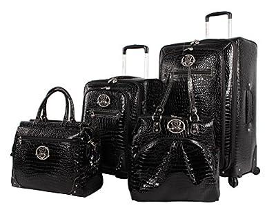 Kathy Van Zeeland Croco PVC Luggage Set 4 Piece Expandable Suitcase with Spinner Wheels