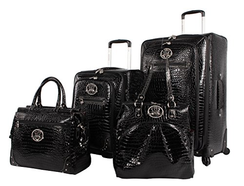 Kathy Van Zeeland Croco PVC Designer Luggage - 4 Piece Softside Expandable Lightweight Spinner Suitcases - Travel Set includes a Dowel and Shopper Bags, 20-Inch Carry On & 28-Inch Suitcase (Black)