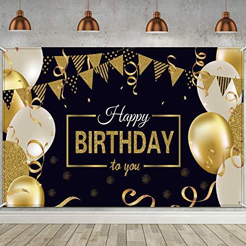 Blulu Decoración de Fiesta de Cumpleaños 30 40 50 60, Póster de Tela Extra Grande para Feliz Cumpleaños Fondo, Materiales de Fiesta Negro Dorado