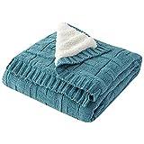 BEDSETS mantas, mantas de lana, mantas de microfibra, mantas de cama, cálidas y esponjosas, reversibles, de microfibra sólida, camas y sofás (130 x 170 cm), Verde, No fleece