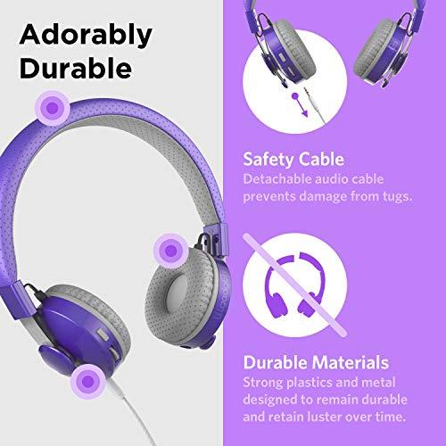 LilGadgets Untangled PRO Kids Premium Wireless Bluetooth Headphones with SharePort and Microphone (Children) - Purple